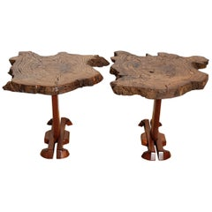 Pair of Walnut Free Edge Side Tables