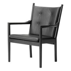 Hans Wegner 1788 Easy Chair, Black Lacquered Oak and Fabric