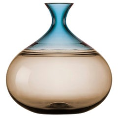 Modern Earth Tone Hand Blown Glass Vase in Smoky Topaz & Mist Blue by Vetro Vero