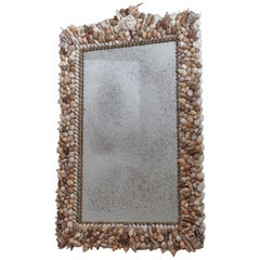 Large Vintage Sea Shell Encrusted Mirror