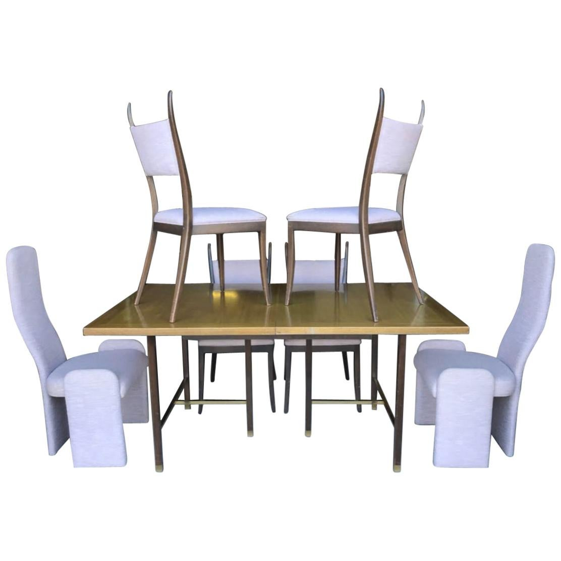 Harvey Probber Dining Table and 6 non-Probber Chairs
