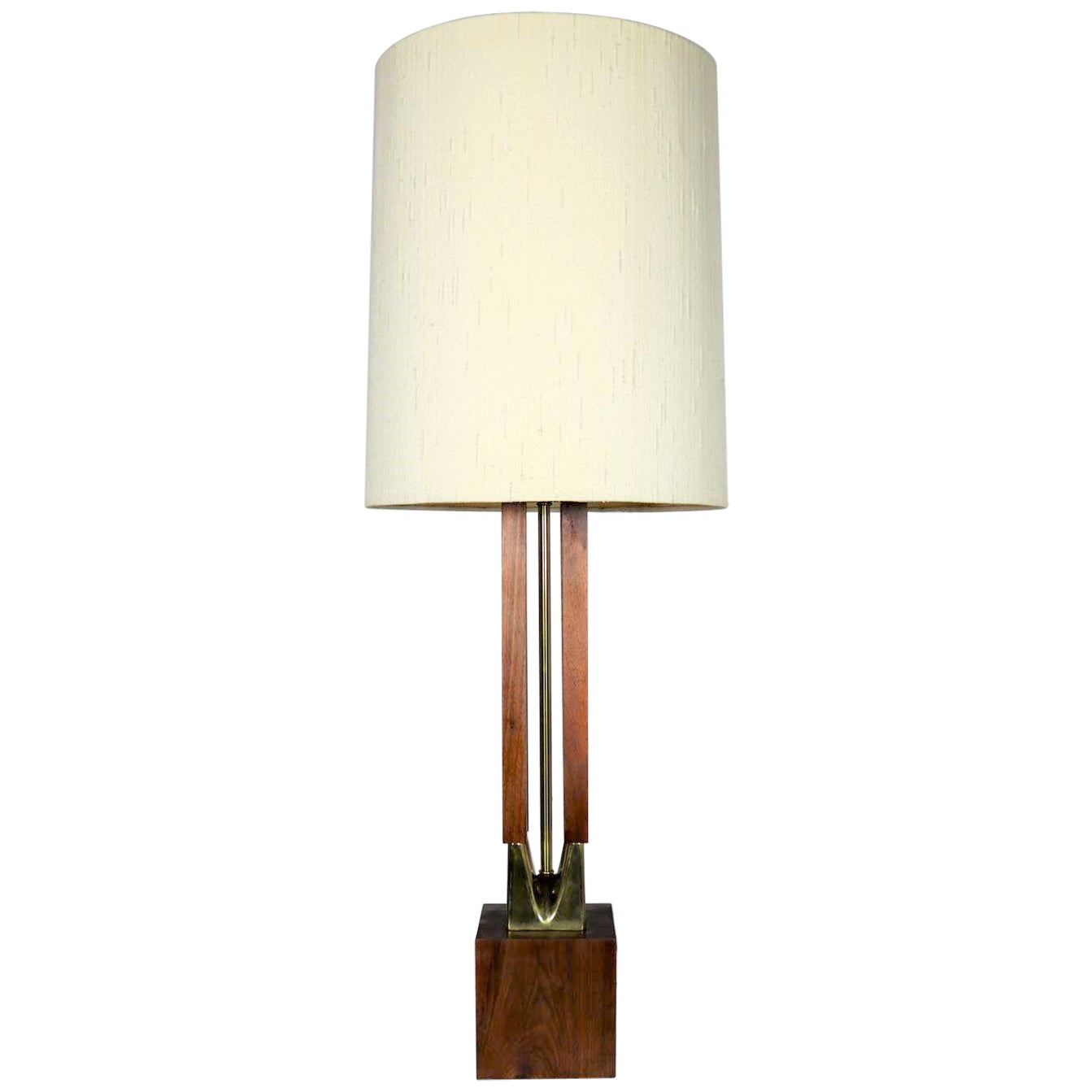 Mid-Century Modern Large Scale Walnut & Brass Lamp Attributed to Laurel Lamp Mfg