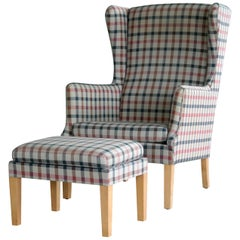 Danish Modern Kaare Klint Style Wingback Chair with Ottoman