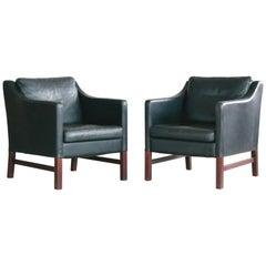 Børge Mogensen Style Pair Danish Black Leather Lounge Chairs by Takashi Okamura