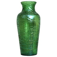 Loetz  Large Green Iridescent Threaded Art Glass Vase