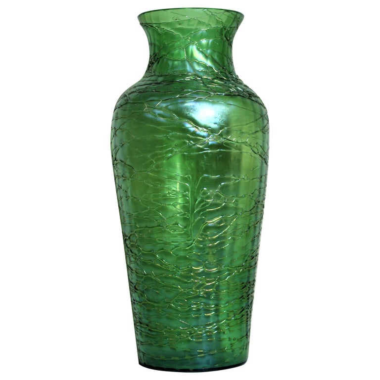 Loetz  Large Green Iridescent Threaded Art Glass Vase For Sale