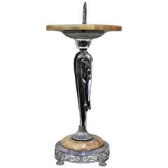 Art Deco Chrome & Alabaster Swivel Top Smokers Table with Stylized Figural Horse