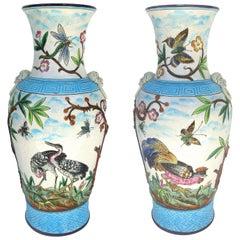 Longwy Enamel Vases in High Relief, circa 1885