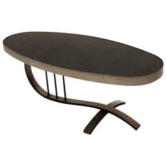 Solid Brushed Steel and Black Mirror Coffee Table, France, circa 1970