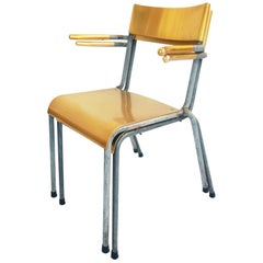 13 Pieces of Swiss Stackable Chairs in Yellow Aluminum and Anodized Metal