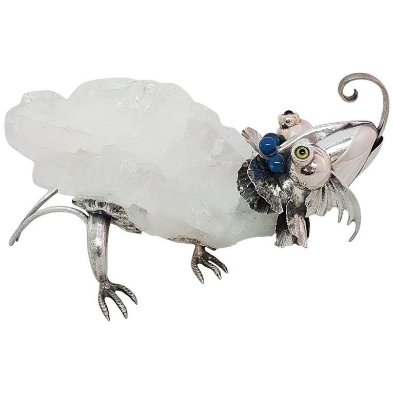 21st Century De Vecchi Sterling Silver Crystal Rock Animal Sculpture For Sale