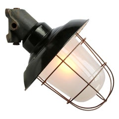 Black Enamel Vintage Industrial Frosted Glass Cast Iron Wall Lamps Scones