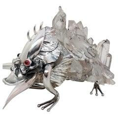 21st Century De Vecchi Silver Crystal Rock Fantastic Animal Sculpture