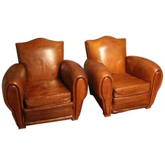 Pair of 1930s French Leather Club Chairs, Moustache Back