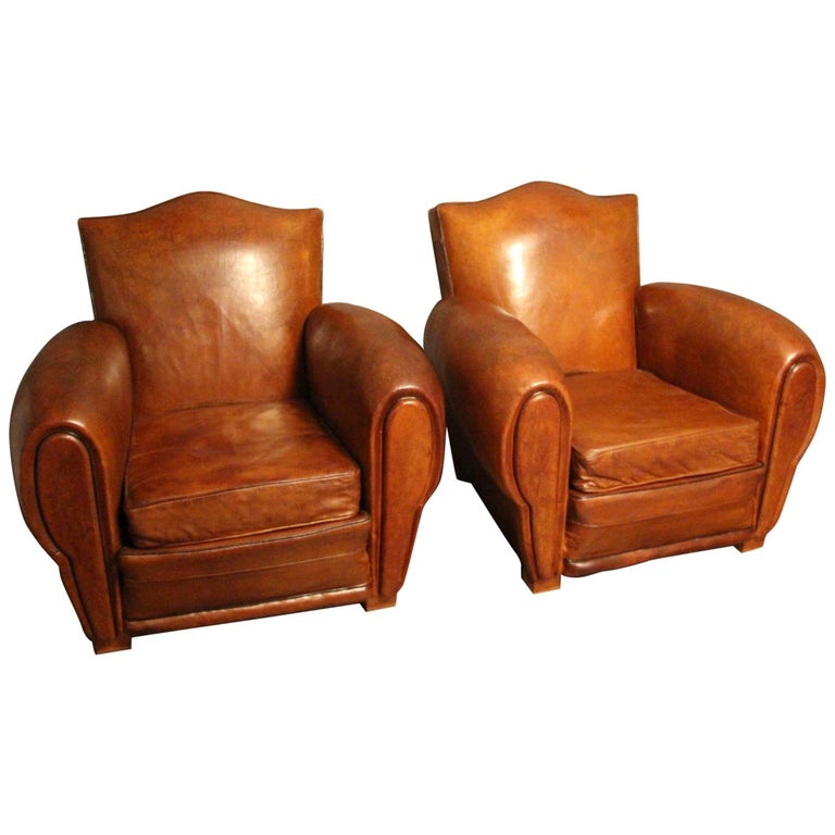 Pair of 1930s French Leather Club Chairs, Moustache Back For Sale