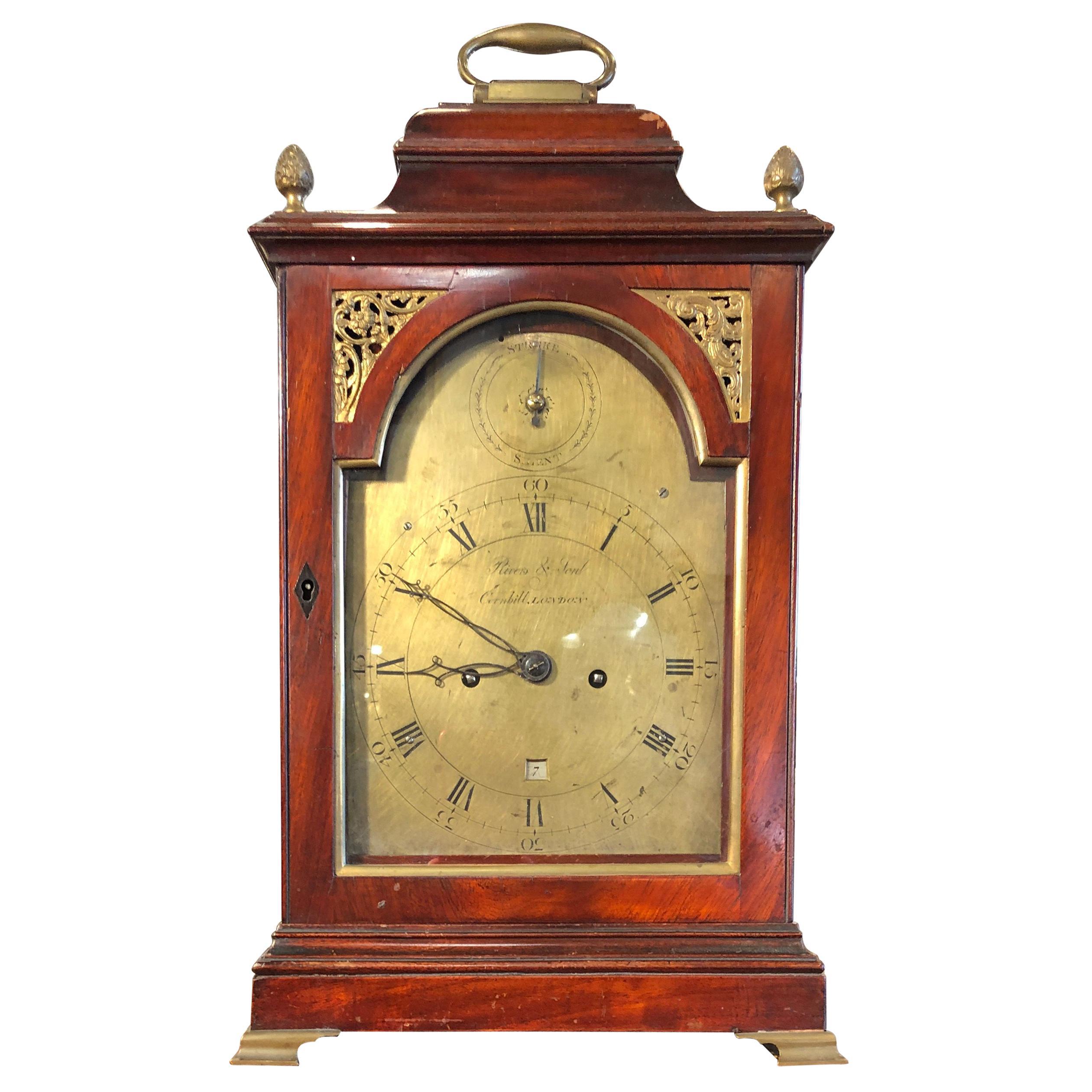 18th Century George III Mahogany Bracket Clock, 1780s