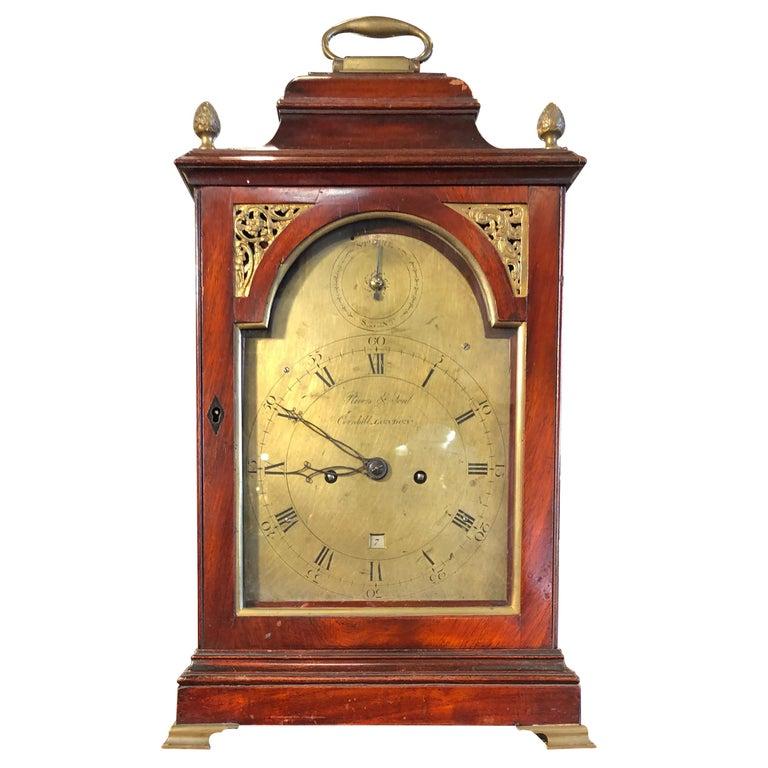 18th Century George III Mahogany Bracket Clock, 1780s For Sale
