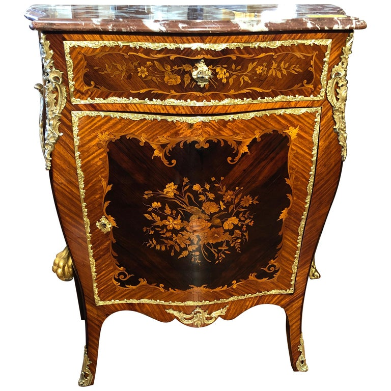19th Century Napoleon III Rosewood Marble Cabinet Credenzas 1890 For Sale