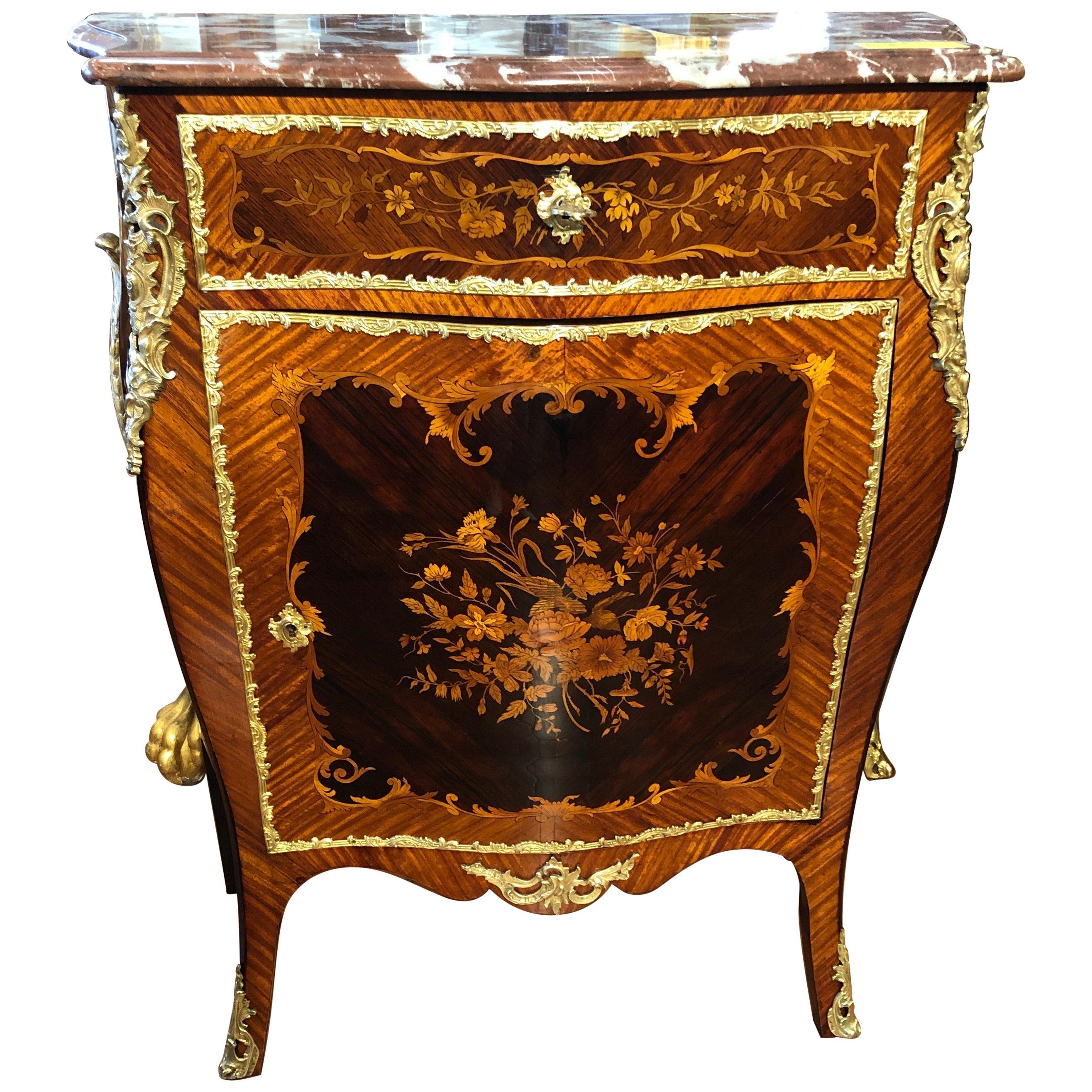 19th Century Napoleon III Rosewood Marble Cabinet Credenzas 1890