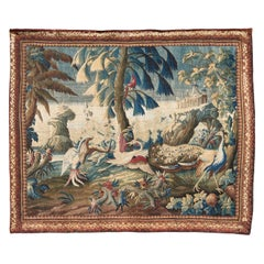 French Aubusson Tapestry with Exotic Birds in a Mythical Landscape, circa 1740