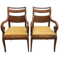 Italian Pair of Armchairs 19th Century Charles X Genoese Maple Armchairs