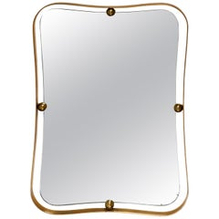 Large Crafted Italian 1960s Decorative Brass Mirror