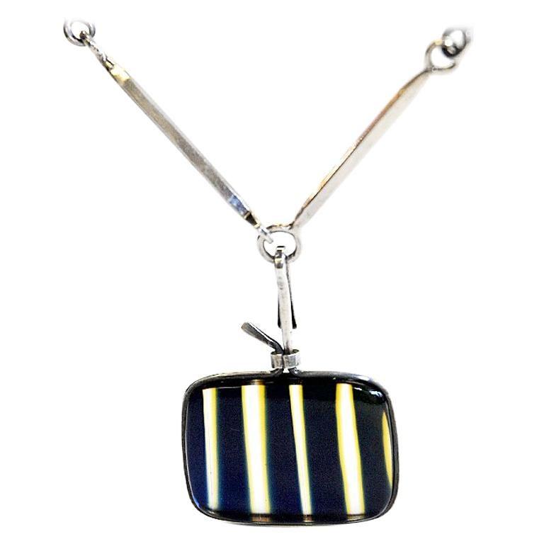 Silver Necklace with vintage Glass Pendant by Bengt Liljedahl 1959, Sweden