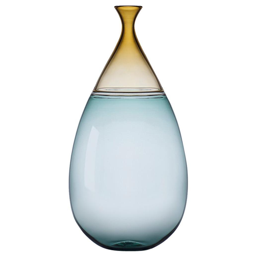 Modernist Hand Blown Art Glass Vessel in Straw and Tourmaline by Vetro Vero