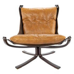 Cognac Leather Falcon Longe Chair by Sigurd Ressell for Vatne Möbler Norway 1970