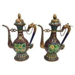 Pair of Chinese Cloisonné Ewers Pitchers Decanters