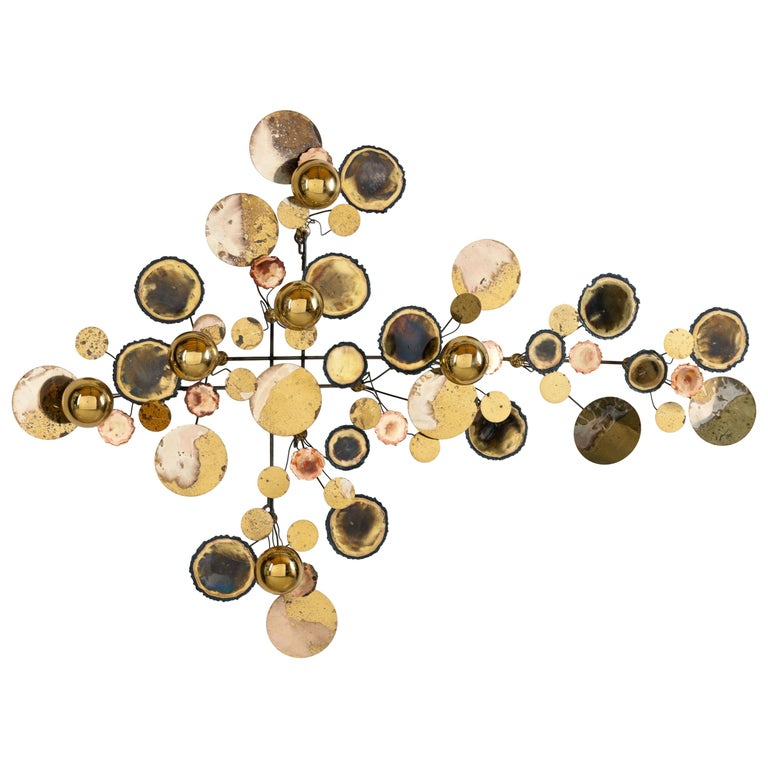 Vintage 1971 Brass 'Curtis Jere' Raindrops Wall Sculpture For Sale