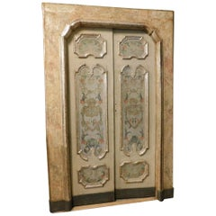 18th Century 2 Wooden Lacquered and Silvered Doors with Frame, Italy, Original