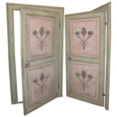 18th Century N.2 Antiques Doors Green and Pink with Frames, Hand-Painted, Italy