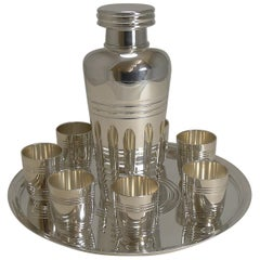 French Art Deco Silver Plated Cocktail Set by St. Medard, Paris c.1935