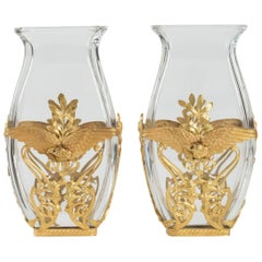 Pair of Crystal Vases and Mounted Brass Chiseled and Gilded, Large Decoration