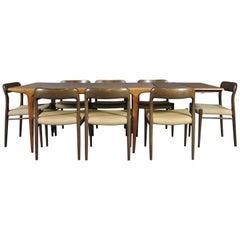 Scandinavian Modern Dining Set in Oak by N.0. Möller for J.L. Moller Møbelfabrik