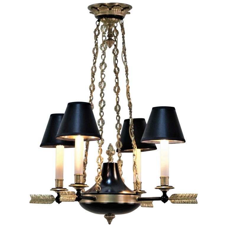 French Empire Bronze Chandelier For Sale