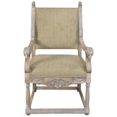 19th Century French Louis XIV Whitewashed Armchair with Rams' Heads