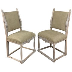 Pair of 19th Century French Louis XIV Whitewashed Chairs