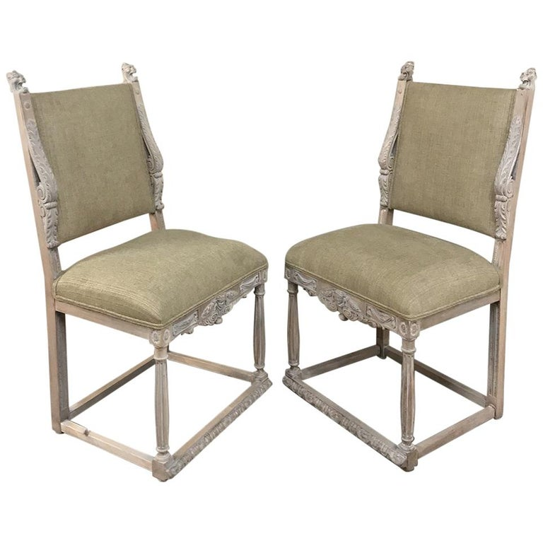 Pair of 19th Century French Louis XIV Whitewashed Chairs For Sale