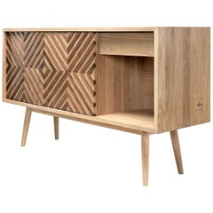 Very Elegant Walnut and Oak Sideboard Credenza
