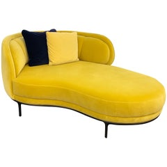 Wittmann Vuelta Chaise Lounge designed by Jaime Hayon, in Yellow Velvet