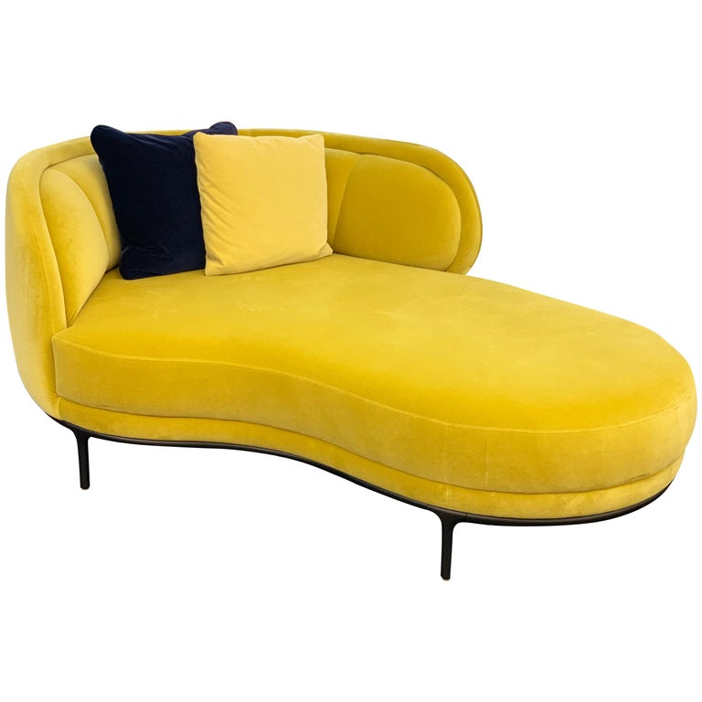 Wittmann Vuelta Chaise Lounge Designed By Jaime Hayon In Yellow Velvet