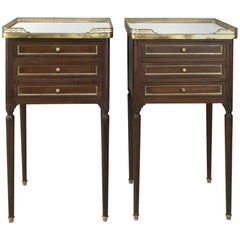Pair of 19th Century French Directoire Marble Top Nightstands