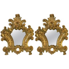 Pair of 18th Century Italian Louis XV Altar Giltwood Frames with Mercury Mirror