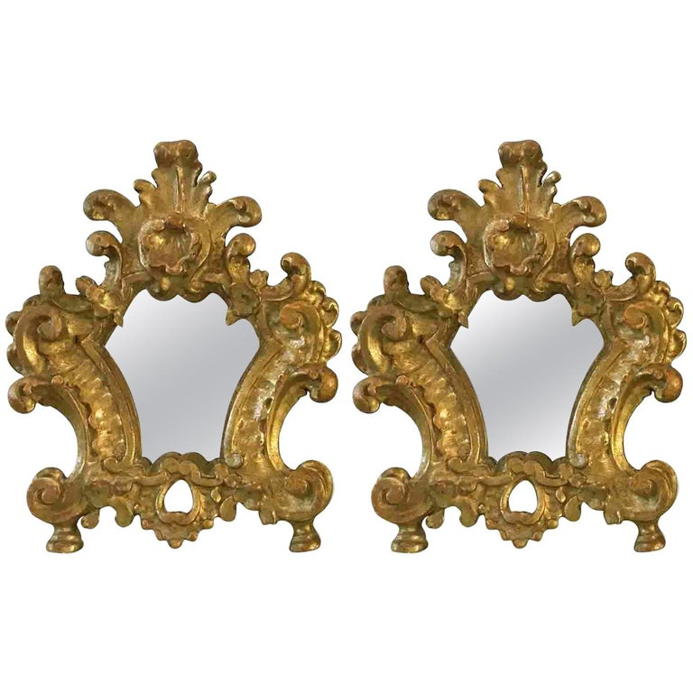 Pair of 18th Century Italian Louis XV Altar Giltwood Frames with Mercury Mirror For Sale