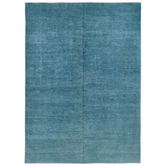 Contemporary Blue Overdyed Wool Area Rug