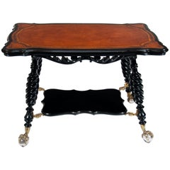 Unusual Antique Ebonized and Leathered Table
