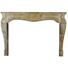 18th Century French Antique Country Limestone Fireplace Surround