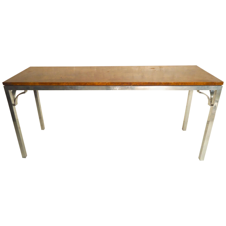 Milo Baughman Style Burl Console Table